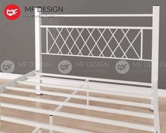 mfdesign88 NESTS QUEEN SIZE METAL BED (WHITE)