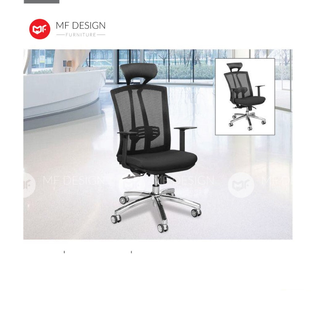 mf design pesh Office Chair & Chrome Leg / Kerusi Pejabat / Kerusi Roda /Height Adjustable Swivel / gaming kerusi office /