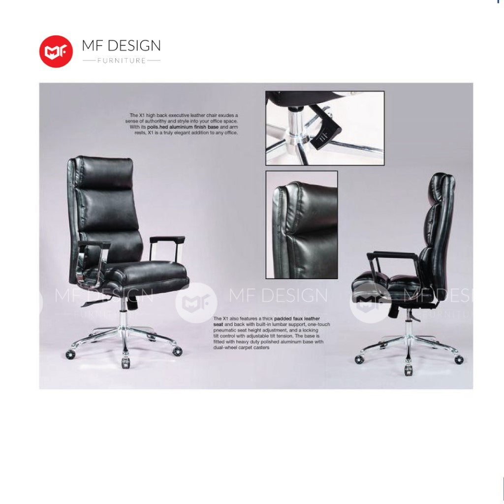 mf design xela Office Chair & Chrome Leg / Kerusi Pejabat / Kerusi Roda /Height Adjustable Swivel / gaming kerusi office /