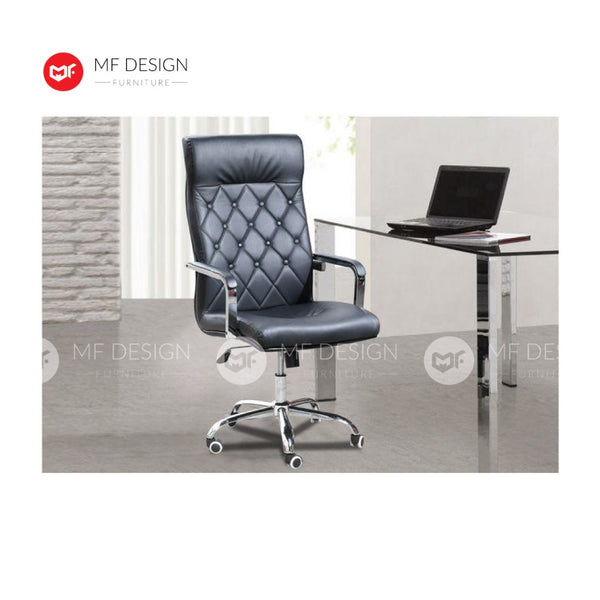 mf design desh Office Chair & Chrome Leg / Kerusi Pejabat / Kerusi Roda /Height Adjustable Swivel / gaming kerusi office /