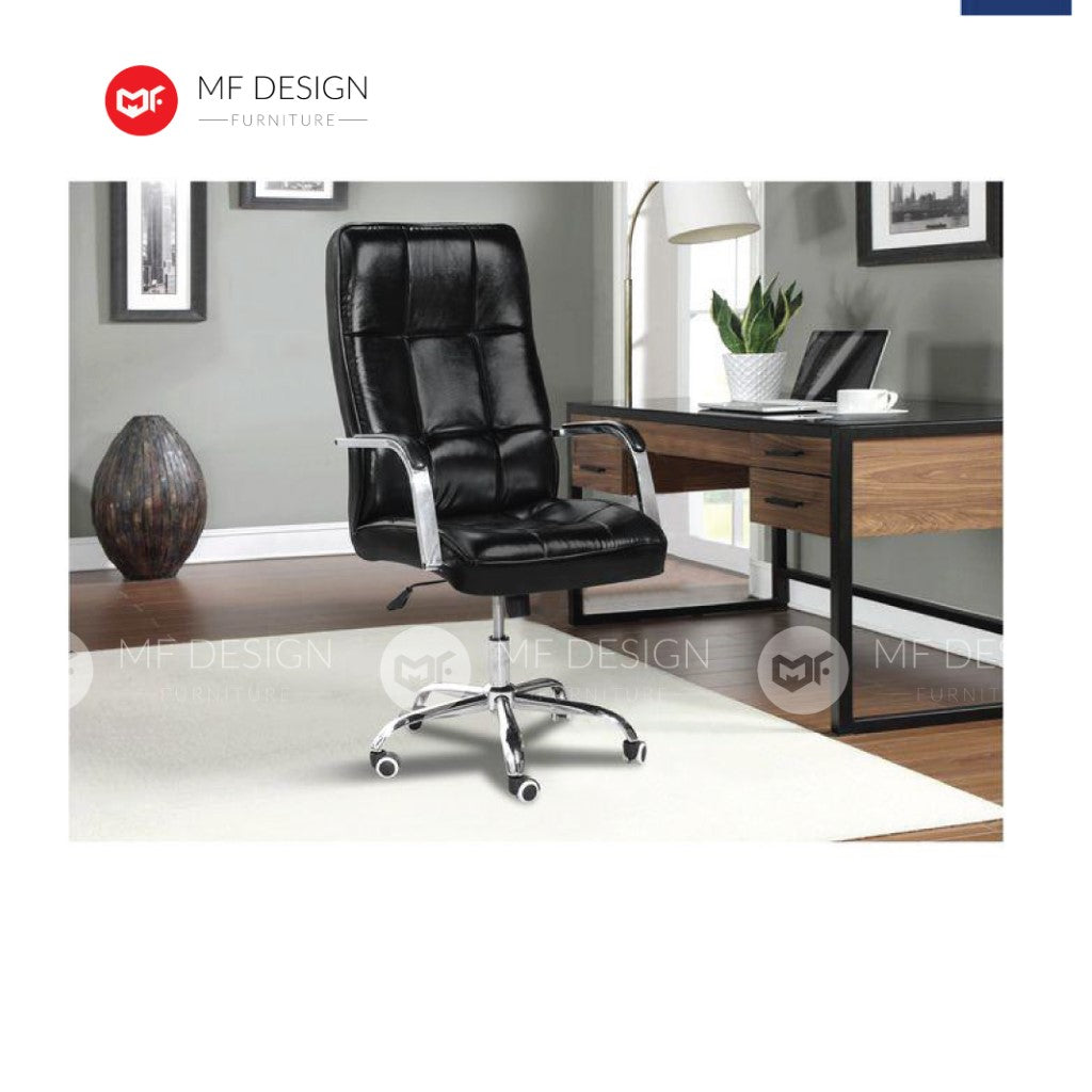 mf design bios Office Chair & Chrome Leg / Kerusi Pejabat / Kerusi Roda /Height Adjustable Swivel / gaming kerusi office /