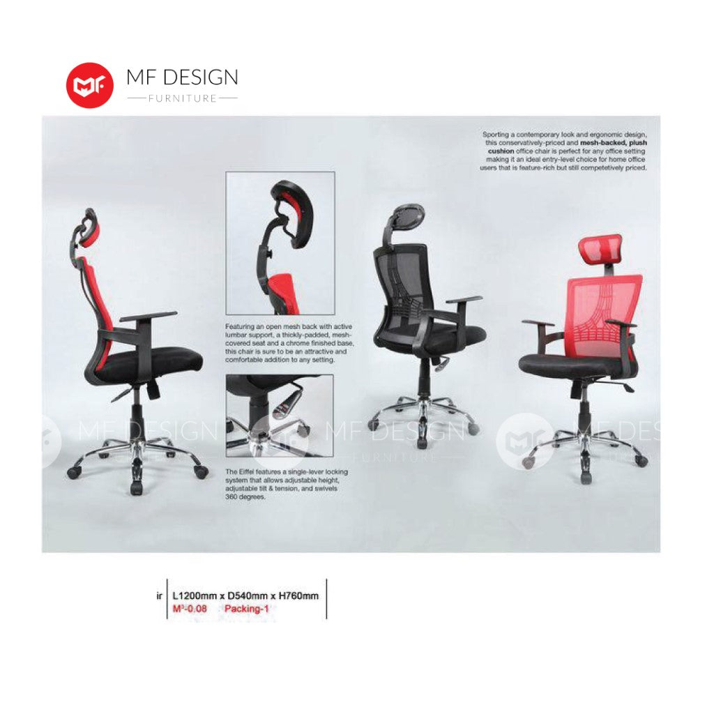 mf design ronny Office Chair & Chrome Leg / Kerusi Pejabat / Kerusi Roda /Height Adjustable Swivel / gaming kerusi office /