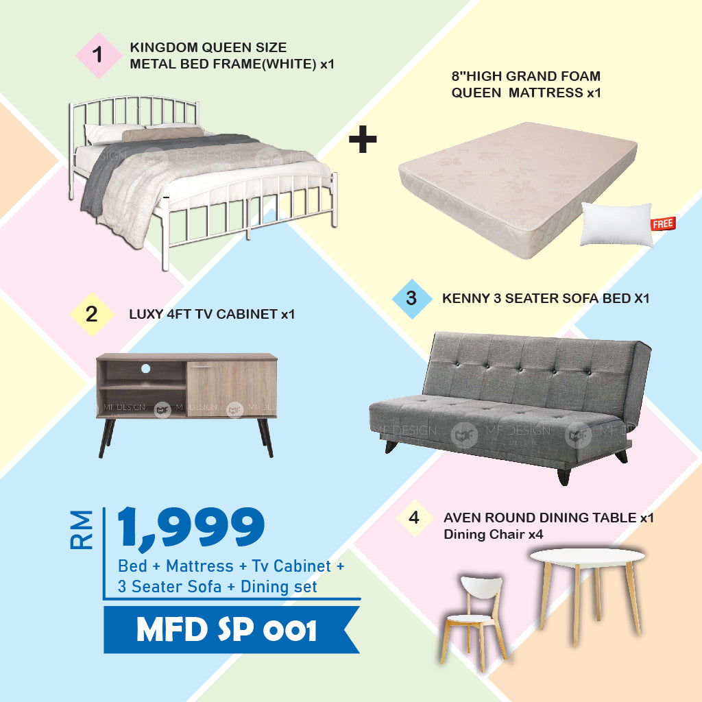 MF DESIGN Queen Bed Frame / 8 Inch Mattress / Sofa Bed /  Tv Cabinet / Dining Table / Dining Chair PILLOW (HOME PACKAGE sp001)