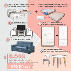 MF DESIGN Queen Bed Frame / 8 Inch Mattress / Sofa Bed /  Tv Cabinet / Dining Table / Dining Chair PILLOW (HOME PACKAGE hp301)
