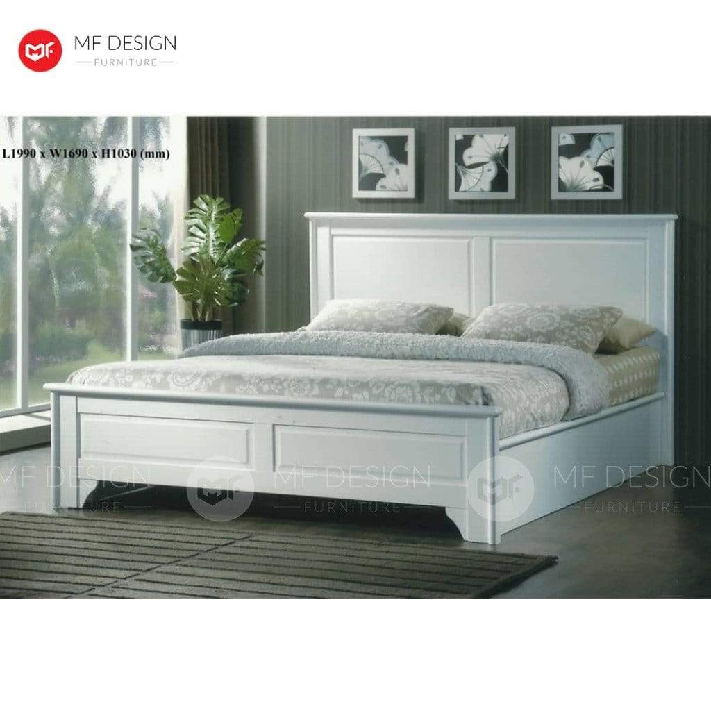 7 QUEEN MF DESIGN ISABELLA QUEEN WOOD BED FRAME (WHITE SERIES)