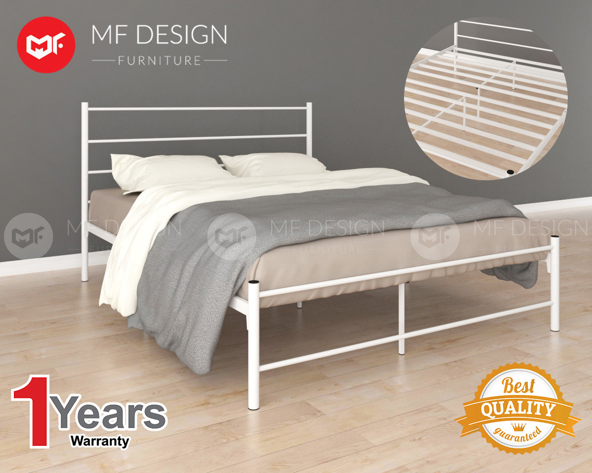 JOY METAL QUEEN BED (WHITE)