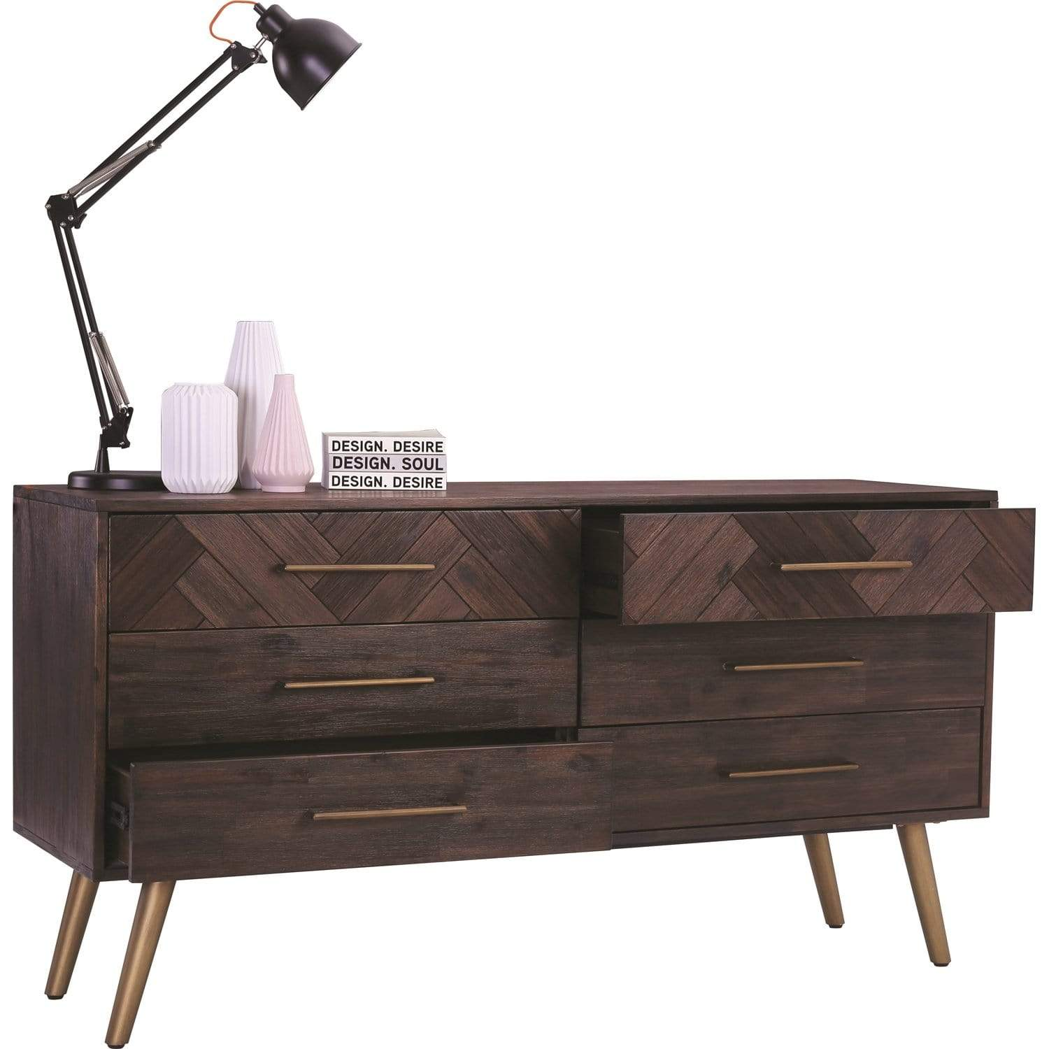 mfdesign88 SIDEN 6 Drawer Dresser in Dark Brown Body