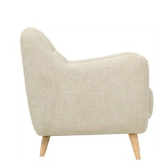 mfdesign88 Sofa BARRAS FABRIC – ALMOND Charlotte 1 seater fabric sofa-Almond