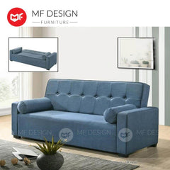 mfdesign88 Sofa Bed Blue MF DESIGN TITAN 3 Seater Fabric SOFA BED (Free Two Pillow) (GREY/BLUE/BROWN)
