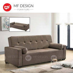mfdesign88 Sofa Bed Brown MF DESIGN TITAN 3 Seater Fabric SOFA BED (Free Two Pillow) (GREY/BLUE/BROWN)