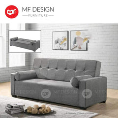 mfdesign88 Sofa Bed Grey MF DESIGN TITAN 3 Seater Fabric SOFA BED (Free Two Pillow) (GREY/BLUE/BROWN)