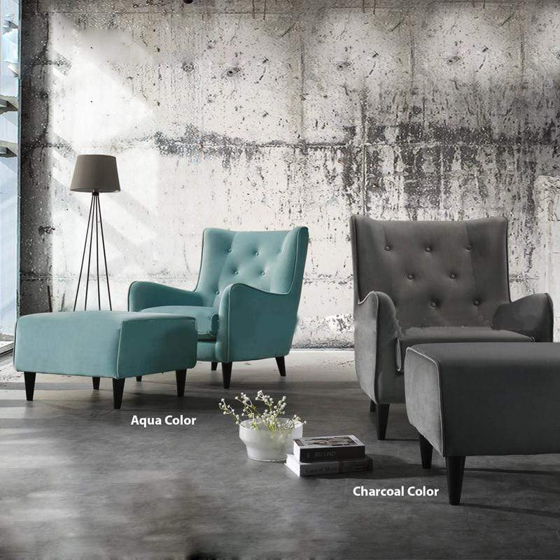 mfdesign88 Sofa ELLA fabric lounge chair with stool- Turquoise