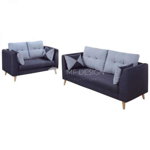 mfdesign88 Sofa Iden 2+3 Seater Fabric Sofa with Free Cushion