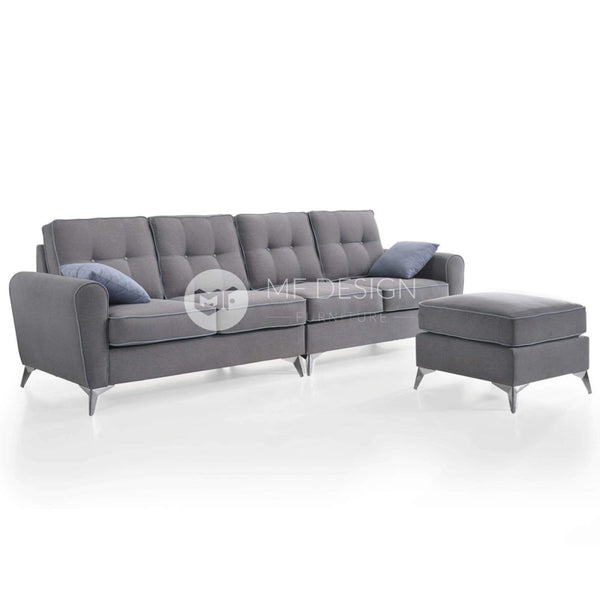 mfdesign88 Sofa Mivo L Shaped 4 Seater Sofa In Washable Cover- Grey