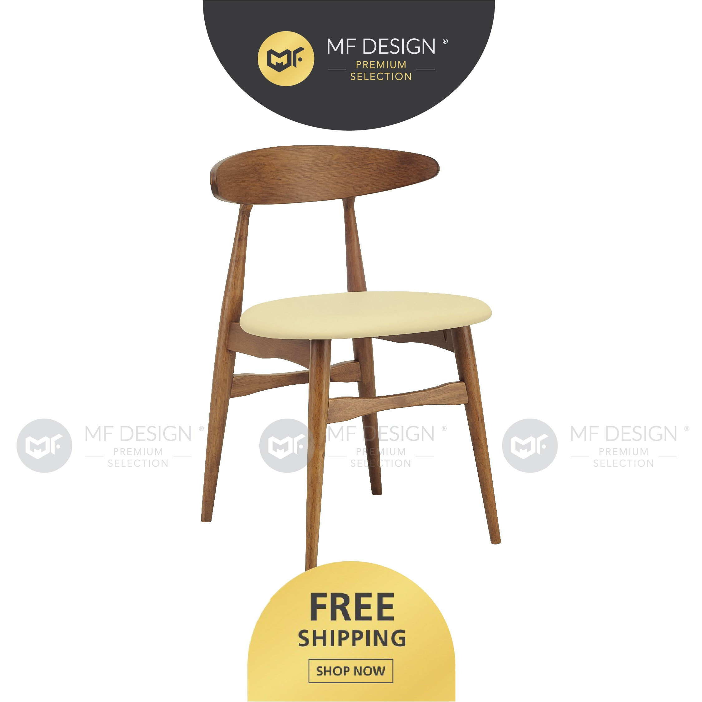 MFD Premium Tavis Dining Chair / Wooden Chair / Solid Rubber Wood / Kerusi Makan Kayu Getah / Living Room / Scandinavian