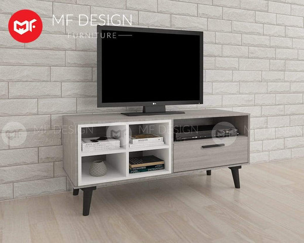 mfdesign88 TV CABINET 4FT MF DESIGN ROMEO TV CABINET ( 4 FEET ) ( LIGHT GREY)