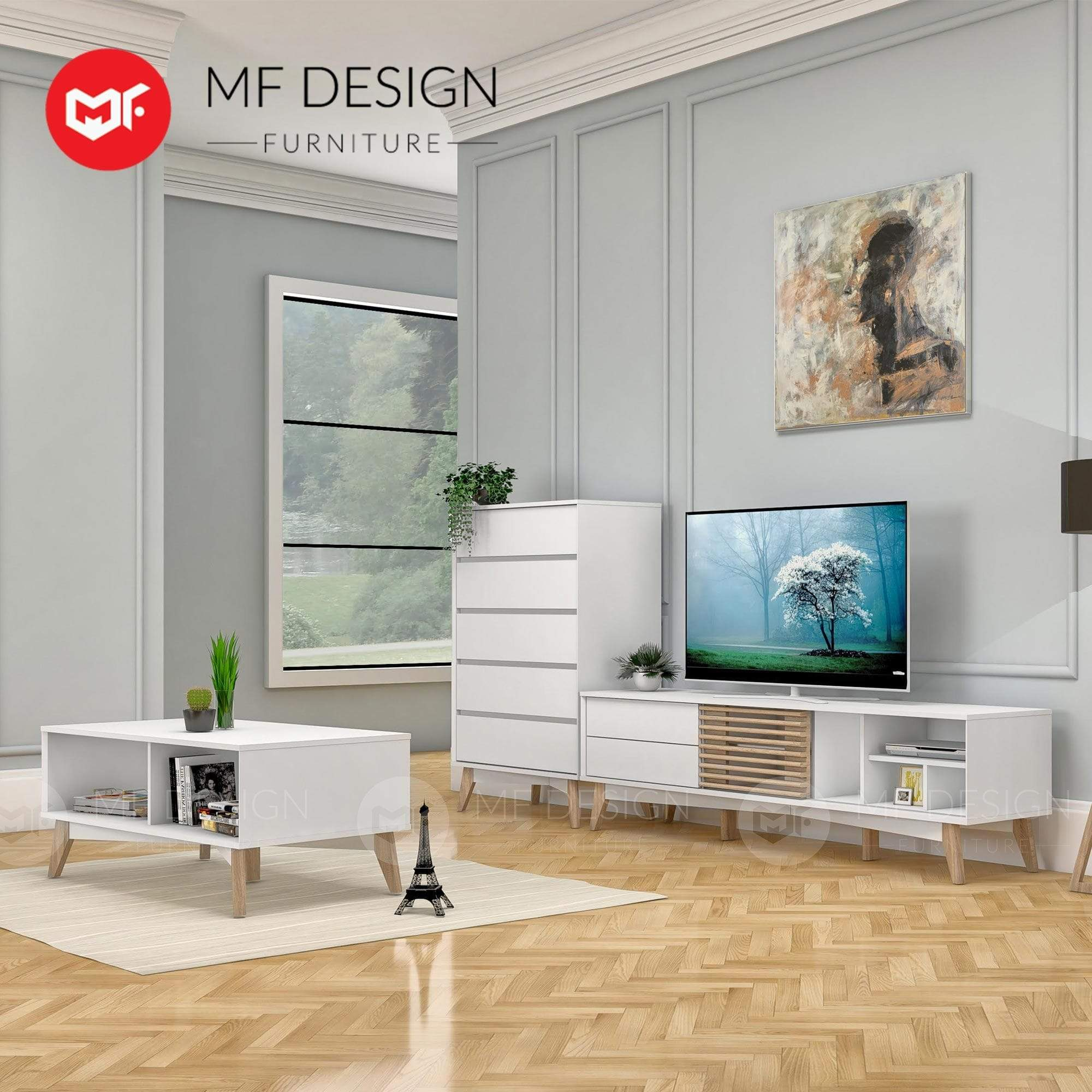 mfdesign88 TV CABINET 6FT LYDIA 6 FEET TV CABINET ( White & Natural )