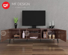mfdesign88 Tv Cabinet BROWN MF DESIGN LVD TV CABINET RACK 6FT
