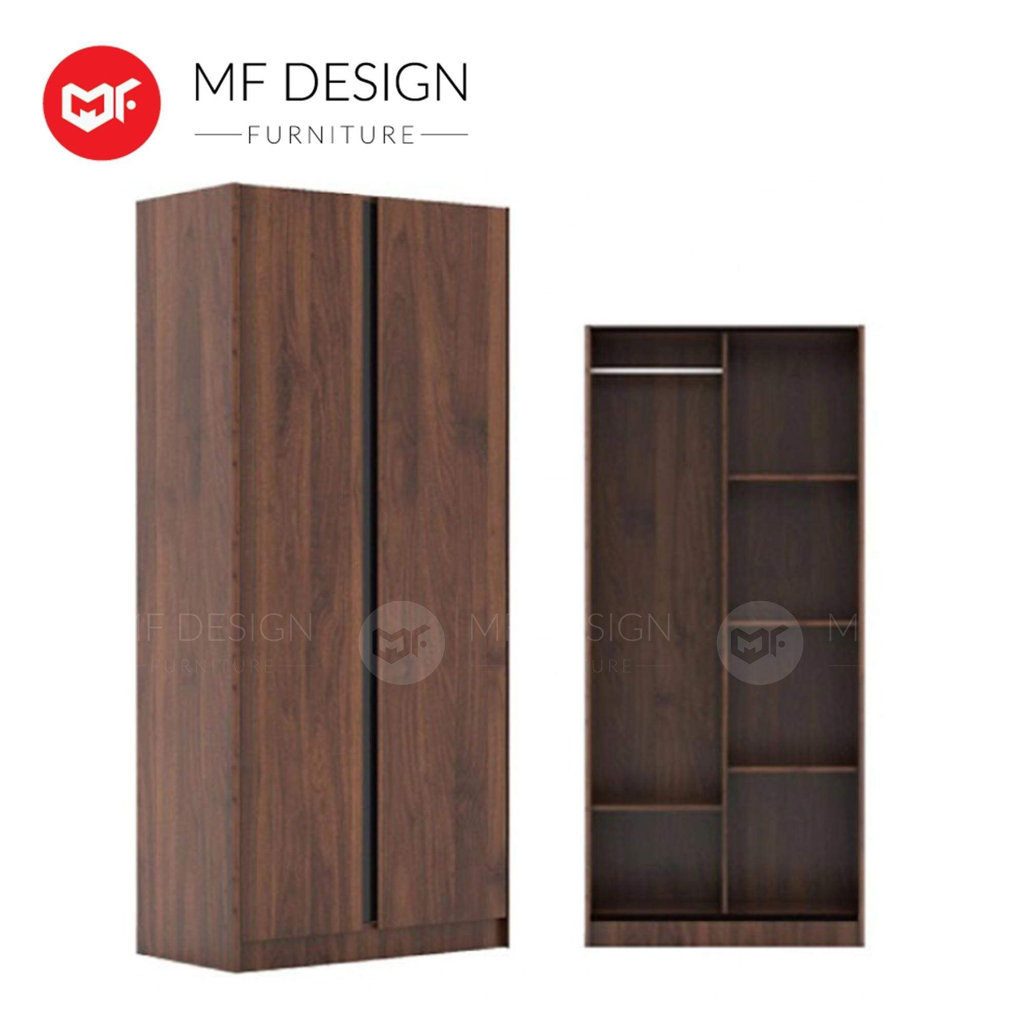 mfdesign88 wardrobe MF DESIGN ADAM 2 DOOR WARDROBE WITH SIDE SLADE / ALMARI BAJU / 2 PINTU / BROWN / L 810 X W 430 X H 1800 MM