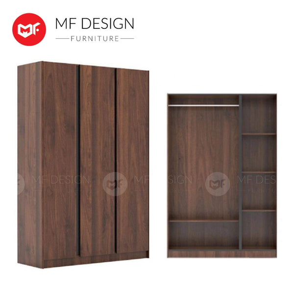 mfdesign88 wardrobe MF DESIGN ADAM 3 DOOR WARDROBE WITH SIDE SLADE / ALMARI BAJU / 3 PINTU / BROWN / L 123 X W 435 X H 1800 MM