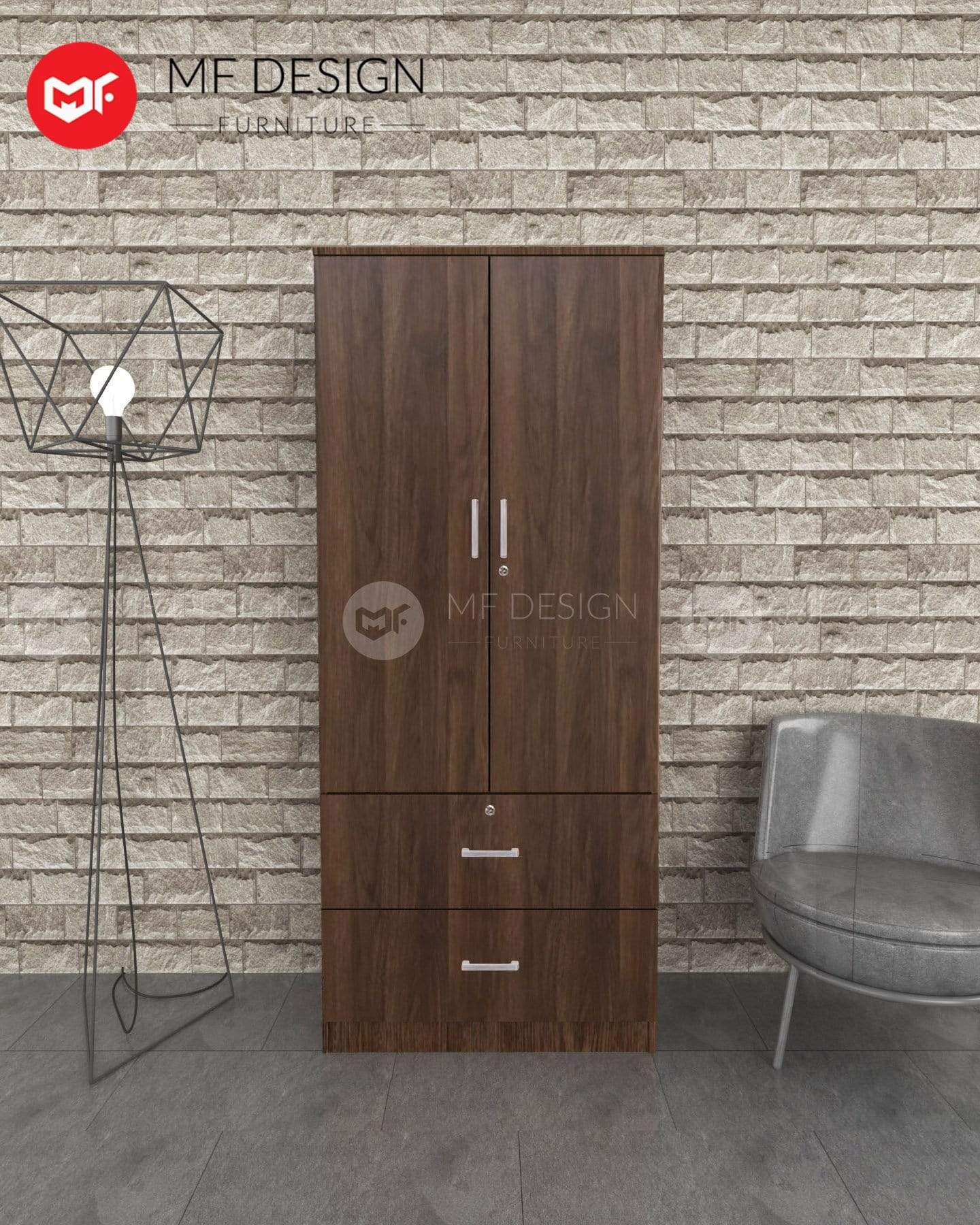 52 wardrobe MF DESIGN DORI 2 DOOR WARDROBE (ALMARI BAJU KAYU)(BROWN)