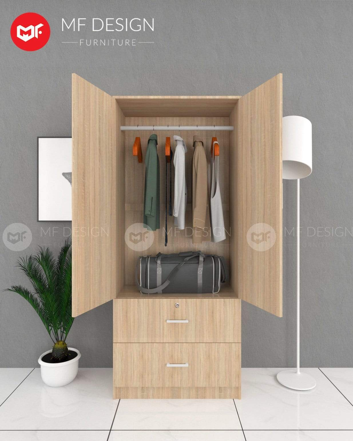 52 wardrobe MF DESIGN DORI 2 DOOR WARDROBE (ALMARI BAJU KAYU)(NATURAL)