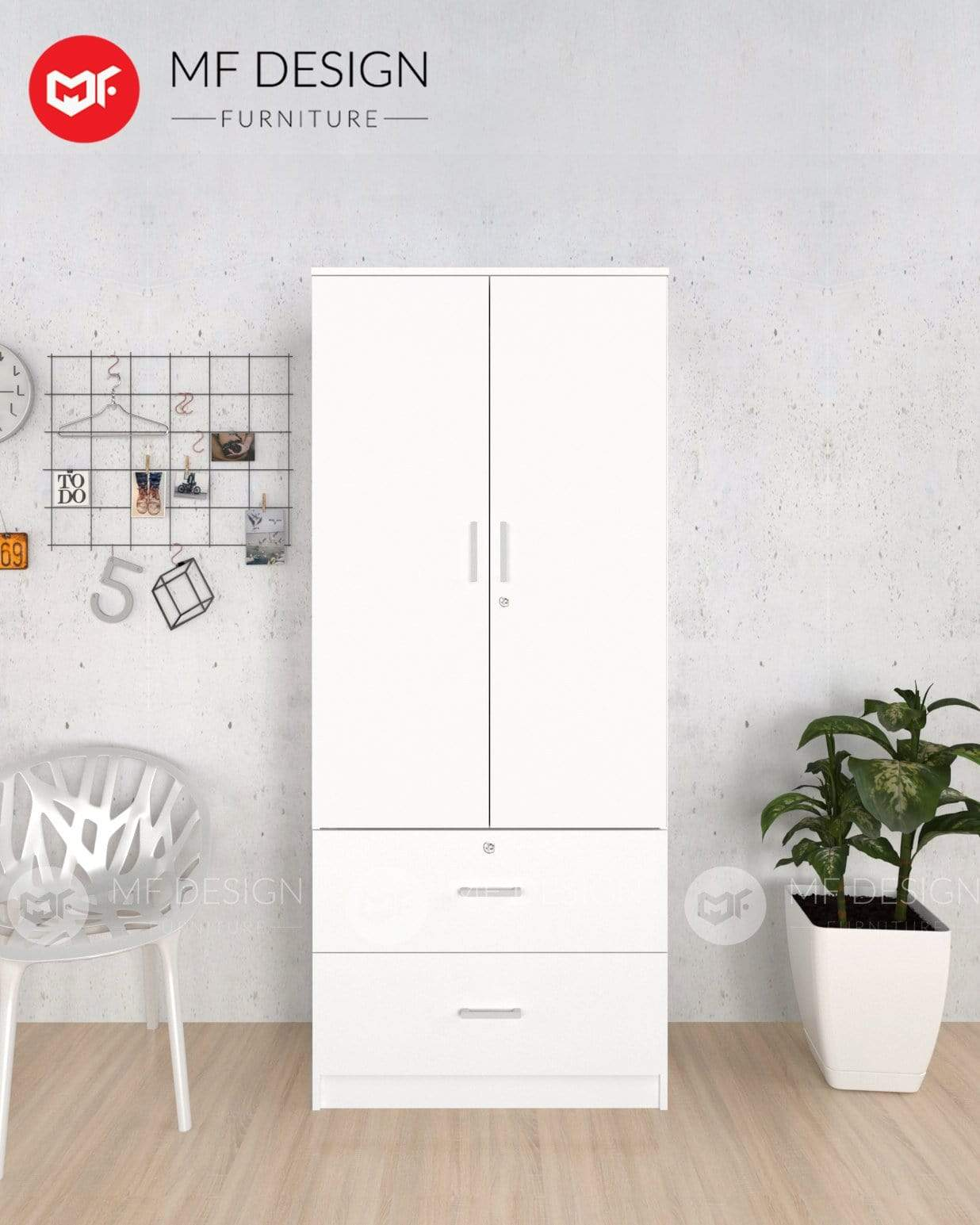 52 wardrobe MF DESIGN DORI 2 DOOR WARDROBE (ALMARI BAJU KAYU)(White)