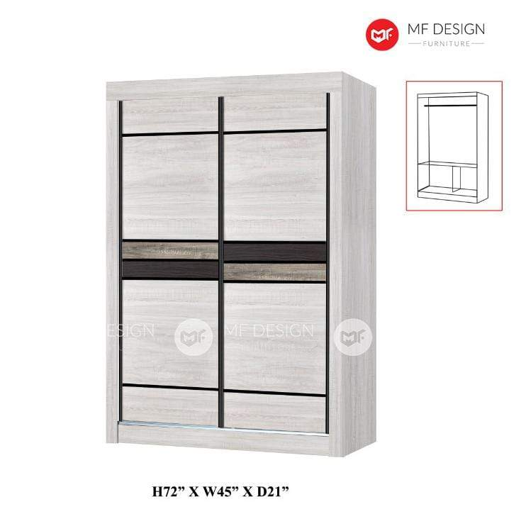 mfdesign88 wardrobe MF DESIGN LUKE WARDROBE 4X6'  / ALAMARI BAJU 4 FT (WHITE WASH)