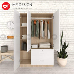 52 wardrobe MF DESIGN MOMENT 3 DOOR WARDROBE ( WITH DRAWER and Lock) (White and Brown) (Almari Baju )