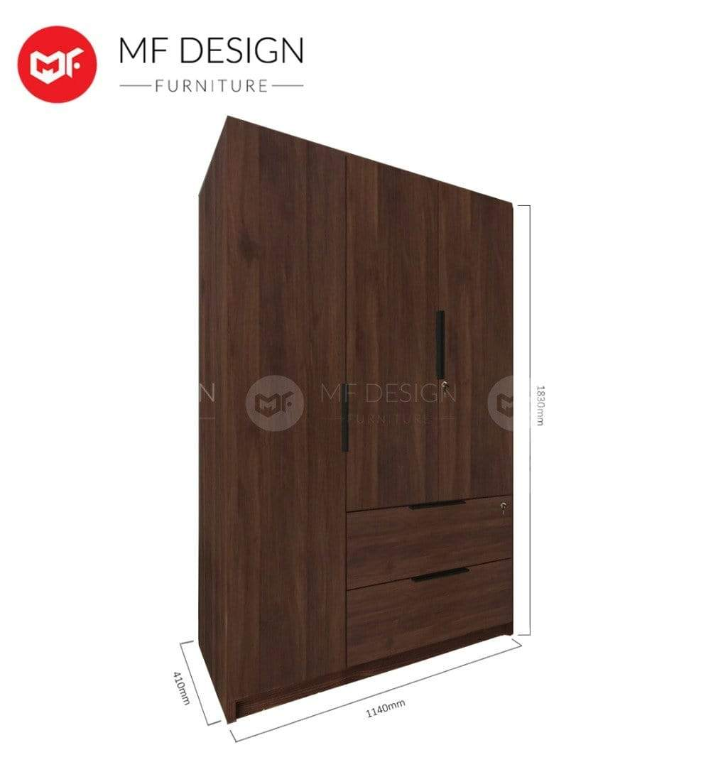 52 wardrobe MF DESIGN MORGEN 3 DOOR WARDROBE ( WITH DRAWER and Lock) (Almari Baju )