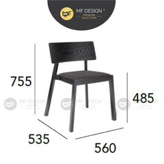 MFD Premium Whittney Dining Chair / Wooden Chair / Solid Rubber Wood / Kerusi Makan Kayu Getah / Living Room