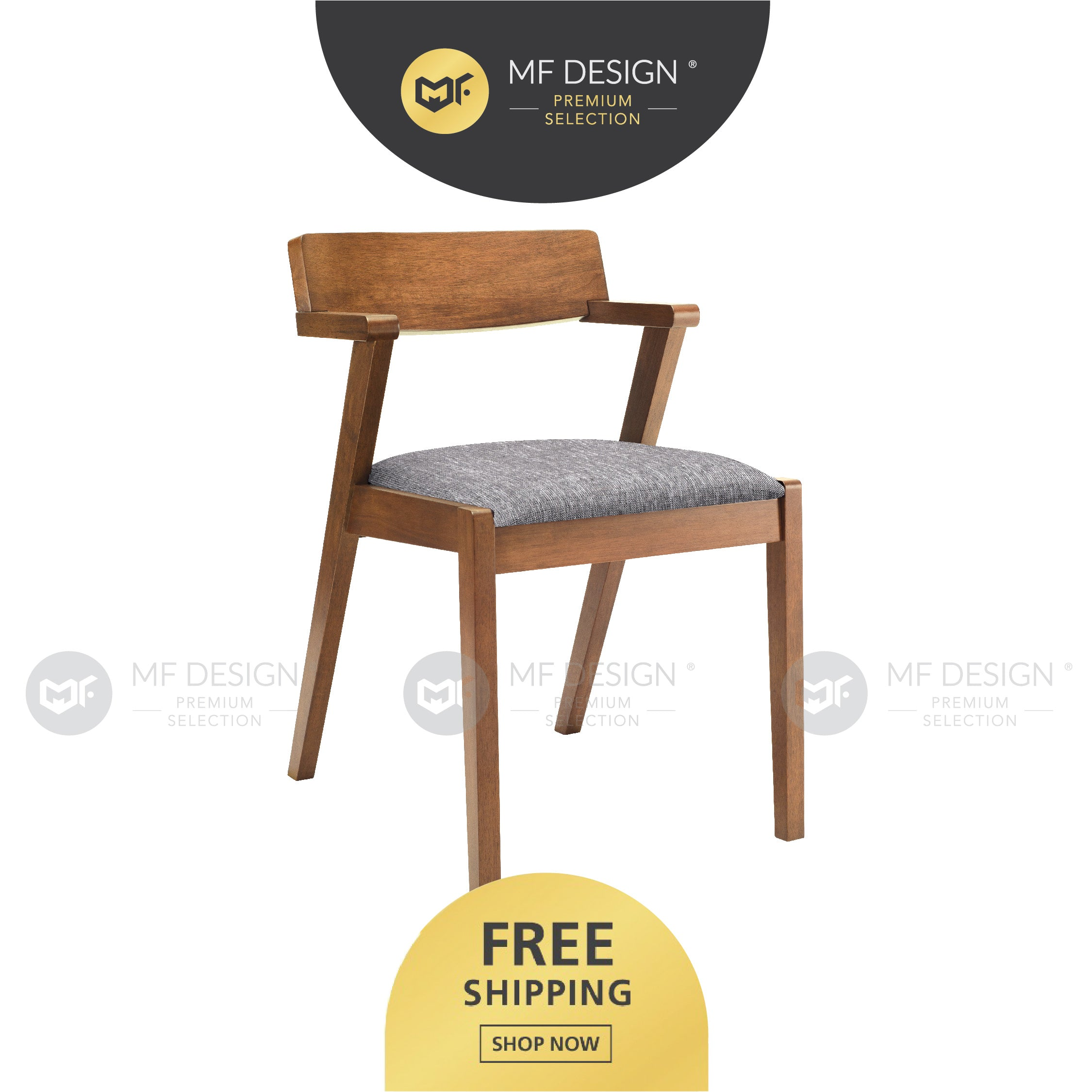 MFD Premium Zoe Dining Chair / Wooden Chair / Solid Rubber Wood / Kerusi Makan Kayu Getah / Living Room / Scandinavian