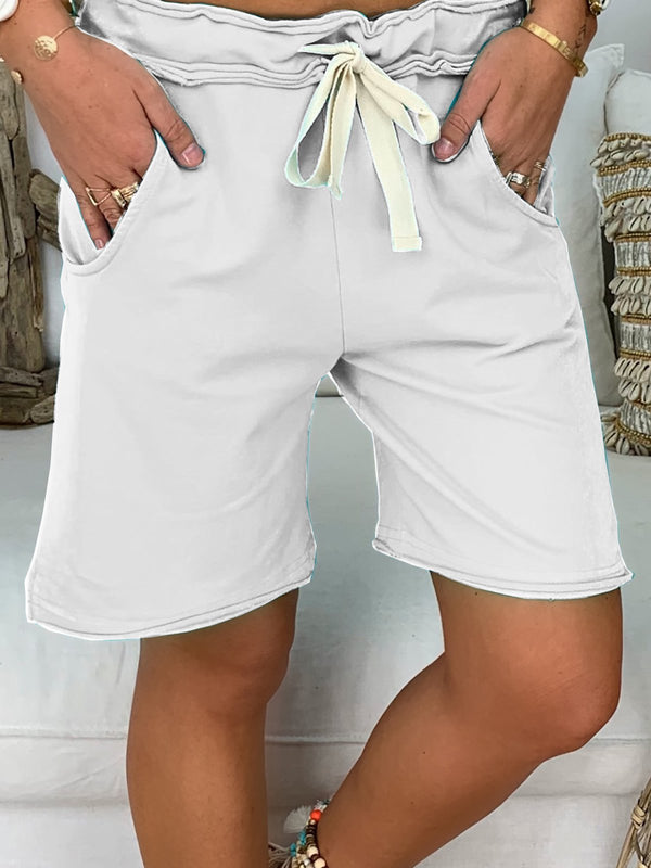 Tunnelzug Taille Shorts Unifarbe