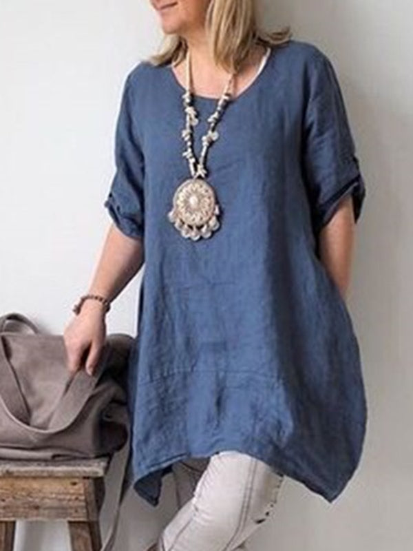 Plus Size Solid Short Sleeve Casual T-Shirt