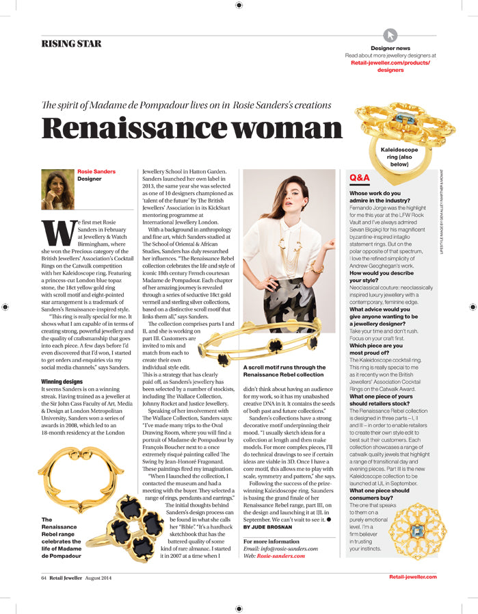 ROSIE SANDERS JEWELLERY FEATURED IN RETAIL JEWELLER MAGAZINE - AUGUST 2014 'RISING STAR' ARTICLE