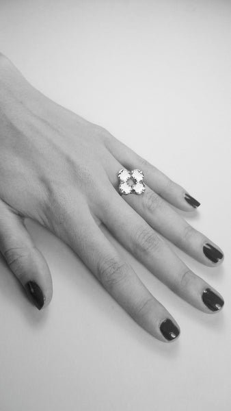 RENAISSANCE REBEL I  HARLEQUIN RING - PORCELAIN WHITE