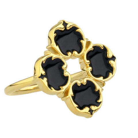 rosie sanders jewellery black enamel gold harlequin ring neoclassical couture renaissance rebel