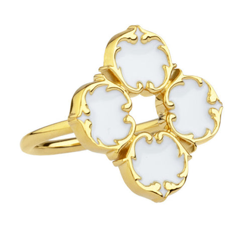 rosie sanders jewellery white enamel gold harlequin ring neoclassical couture renaissance rebel