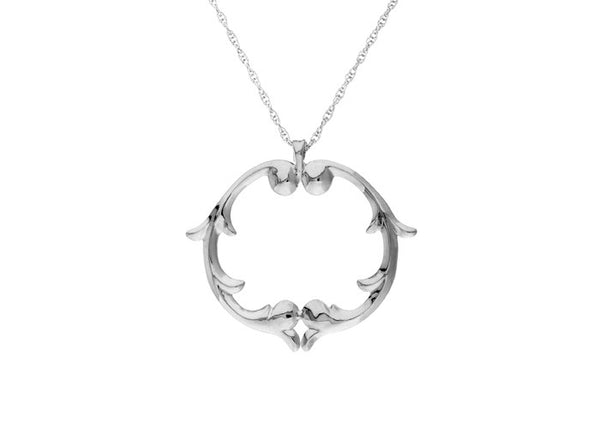 rosie sanders jewellery silver scroll medallion pendant necklace neoclassical couture renaissance rebel