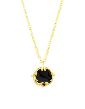 rosie sanders jewellery black enamel gold scroll stud pendant necklace neoclassical couture renaissance rebel