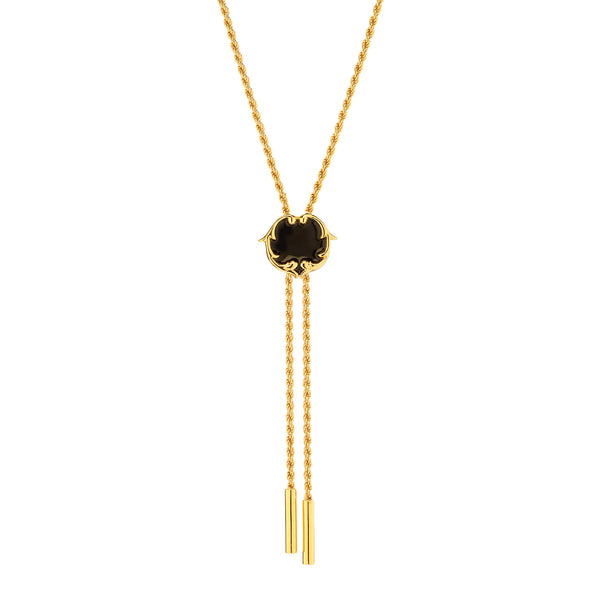 Rosie Sanders Swan Black Enamel 18ct. Gold Vermeil Bolero Necktie from the Renaissance Rebel I Collection,  Neoclassical Couture London