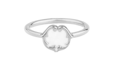RENAISSANCE REBEL I SCROLL STUD RING - PORCELAIN WHITE