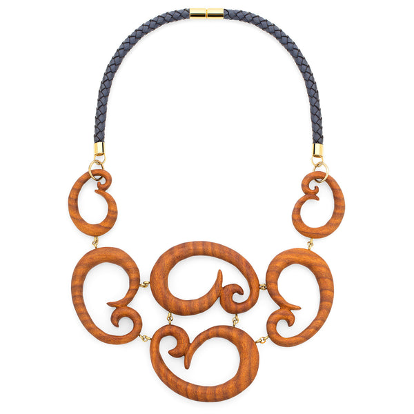 NAUTILUS AFROMOSIA SCROLL STATEMENT NECKLACE