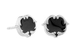 rosie sanders jewellery black enamel silver enamel scroll stud earring neoclassical couture renaissance rebel