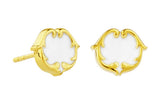 rosie sanders jewellery white enamel gold enamel scroll stud earring neoclassical couture renaissance rebel