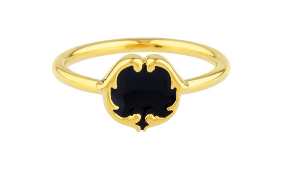 rosie sanders jewellery black gold enamel scroll stud ring neoclassical couture renaissance rebel