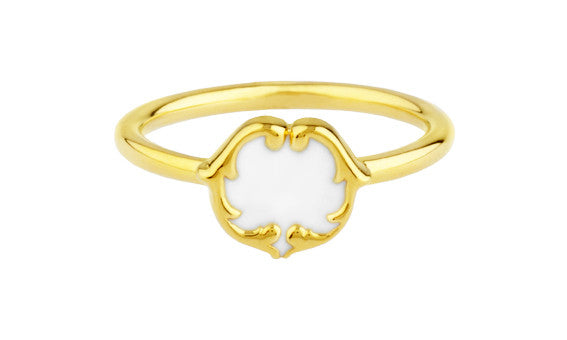 rosie sanders jewellery white enamel gold scroll stud ring neoclassical couture renaissance rebel