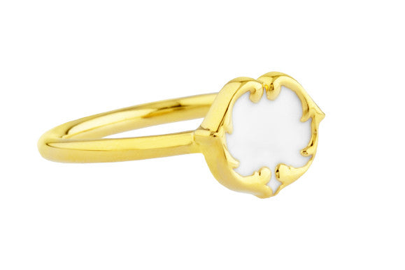 ROSIE SANDERS RENAISSANCE REBEL I SCROLL STUD RING - PORCELAIN WHITE