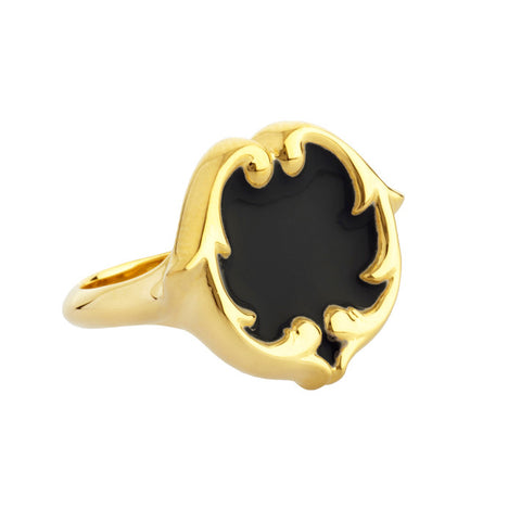 rosie sanders jewellery black enamel gold scroll signet ring neoclassical couture neoclassical couture