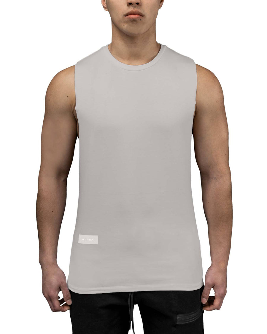 deep cut grey gym tank top